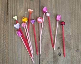 Gemstone Drink Stirrers, Gem Party Drink Stirs, Gemstone Drink Stirrers, 12 Multicolored Faux Gemstone Stirs, Drink and Glass Stirrers
