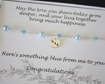 Something Blue Anklet, Bride Gift, Blue Swarovski Pearl Anklet, Charm Anklet, Initial Sterling Silver Adjustable Anklet, Couples Charm