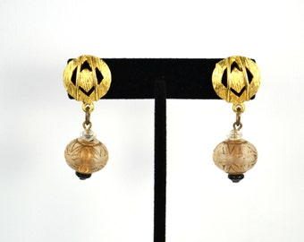 Vintage Gold Tone Clear Bead Drop Earrings, Pierced Stud Earring