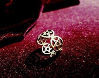 Pentagram Ring - gothic occult pentacle wicca satanic