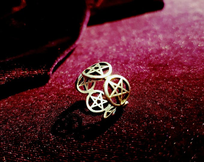 Pentagram Ring - gothic occult pentacle wicca satanic