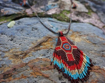 Beaded Fringe Necklace, Festival Jewelry, Seed Beaded Pendant, Beach Jewelry, Geometric Pendant, Embroidered Bead Necklace, Tribal Necklace