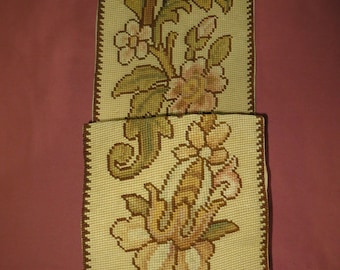 French Circa 1920s Needlepoint Hanging Pouch/Holder.