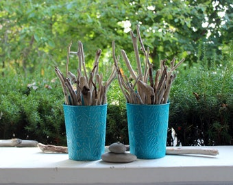 Beach House Driftwood Wall Hanging Set of 2 Turquoise Metal Wall Pots, Coastal Decoration,