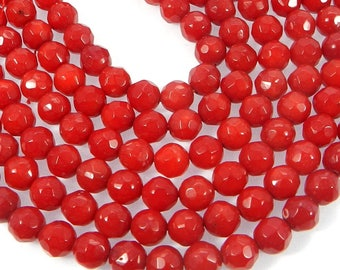 16 inches -1 strand - Syn.Red Coral Beads,Off White Pearl- 6mm Round Smooth Beads For-making Jewelry-Semi Precious -Beautiful Pearl-SHST3092