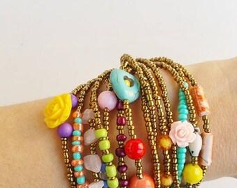 friendship bracelet, beaded bracelet, boho chic, boho, gift for women, bohemian bracelet, portugal, summer bracelet, stackable bracelets
