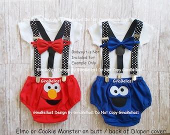 ELMO or Cookie Monster Birthday outfit Sesame Street cake smash black Polka Dot suspenders diaper cover bow tie 9 12 18 24 toddler