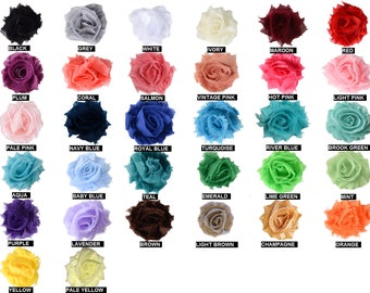 1.5 inch Mini Shabby Flowers Wholesale, Mini Flowers for Headbands, Rose Trim By the yard, 1/2 yard or 2 flowers, 32 Colors to choose from