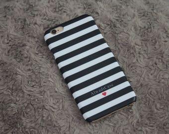 Black Striped Personalised Custom Name Phone Case iPhone 5 5s SE 6 6S Plus 7 8 Plus Samsung Phone Case Samsung S5 S6 Edge S7 Edge S8 Plus
