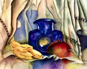 Still Life, bananas, Blue Cobalt Decanter & Mango