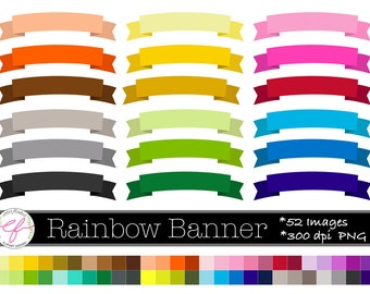 Rainbow Ribbon Banners Clip Art, Ribbons Clipart,labels, tags,Baby Shower