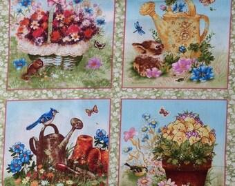 Fabric patchwork/decoration 4 miniature woodland