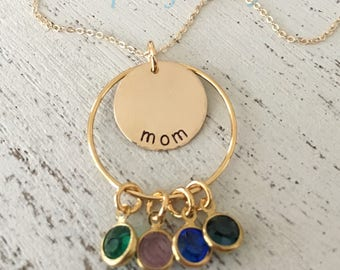 Grandmom Birthstone Necklace, Grandkids Necklace, Mother's Day Gift, Mom Mom Necklace, Mimi Necklace