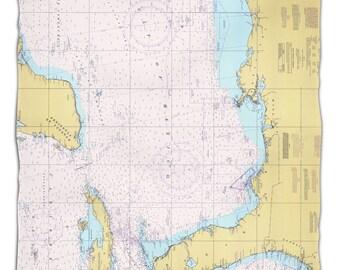 Gulf of Mexico Nautical Chart Fleece Throw Blanket, Map Blanket