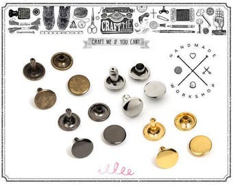 100pcs 10mm Double Cap Rivets Round Rivet Fasteners for Leather Craft Decorations - High Quality Plating VT