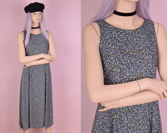 90s Floral Print Sleeveless Dress/ Medium/ 1990s