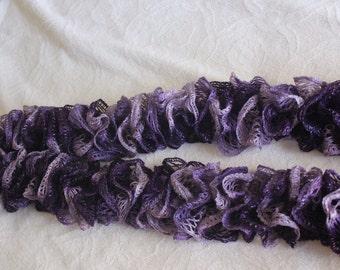 Sashay ruffle scarf-handmade-purple