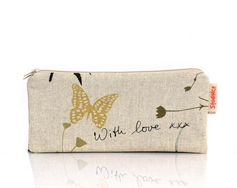 With love pouch, Mothers day gift, Zipper pouch, Pencil case, Make up bag, Teacher gift, Butterfly, School supplies, Makeup, Cosmetic case