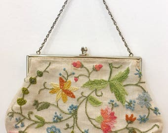 Vintage 1970s Floral Embroidered Muslin Purse