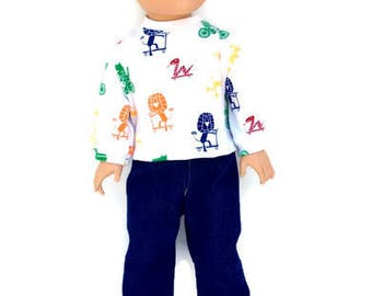 Jungle Animals T-shirt, Blue Jeans for 18 Inch Boy Doll, White  Animal Print T-shirt, Boy Doll Clothes, Winter Doll Clothes, Made to Order