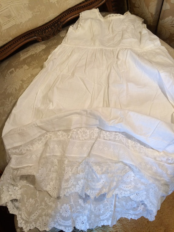 Edwardian baby petticoat 20 chestx24 ins length. Beautiful lace