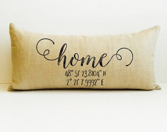 home pillow, custom pillow cover, custom throw pillow, personalized pillow, housewarming gift, custom gift, birthday gift, map coordinates