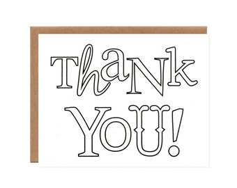 Sale! -- Coloring Thank You Note for Kids