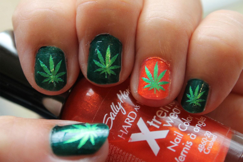 Green Metallic POT LEAVES Nail art (PTM) Symbols Pot Leaf Marijuana ...