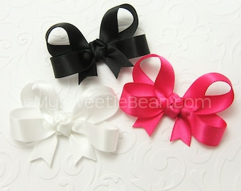 """Set of 3 Baby Bows, Satin Hair Bows for Baby Girls, 2 inch Satin Bows, 2"""" Infant Hair Bows, Tails Down Satin Baby Bows newborn baby toddlers"""