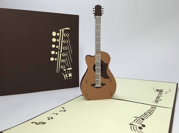 Acoustic guitar pop up guitar birthday card 3d acoustic like this item bookmarktalkfo Choice Image