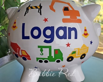 Personalized Piggy Bank Construction Vehicles, Custom Boy's Truck Piggy Bank, Trucks Construction Vehicles, Toddler Boy Birthday
