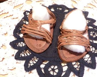Rare leather baby sandals, Antique baby sandals, rear view mirror décor, collectible baby sandals, Morethebuckles