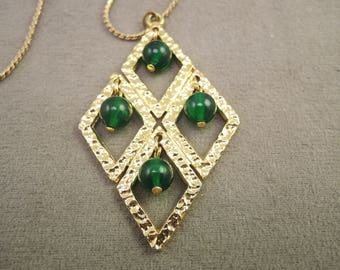 Gold Tone Necklace with Reversible Pendant and Green Plastic Beads 1970-80s