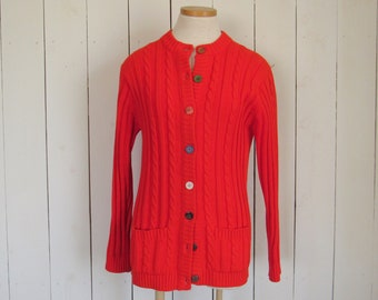 Cable Knit Sweater 70s Retro Preppy Pocket Sweater Cherry Red Vintage Donn Kenny Small S / Medium M