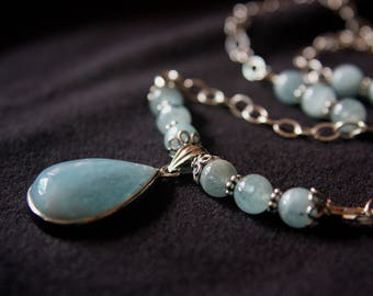 Chalcedony and Sterling Silver Necklace - Heaven's Foundations Series