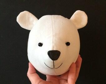 Bear Faux taxidermy,  baby polar bear cub head, bear wall decor animal head
