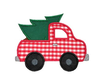 Truck Christmas Tree Applique Machine Embroidery Digital Design Automobile