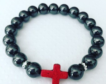 Mens bracelet. Handmade Jewelry. Red Cross and Magnetic Bead Stretch Bracelet. Red and Gray Bracelet. Mens Jewelry. Magnetic.