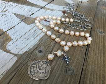 Rosary Style Pearl Necklace, Large Peach Champagne Pearls, Love and Nature Inspired Necklace, Bohemian Jewelry