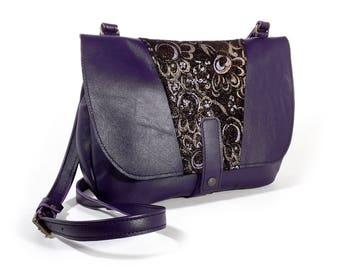 Purple Leather satchel bag
