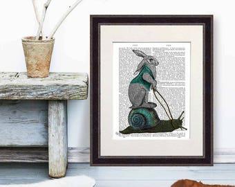 Woodland animal nursery print - Hare and Snail print Rabbit art rabbit print gift for rabbit lover cute rabbit snail gift childrens wall art