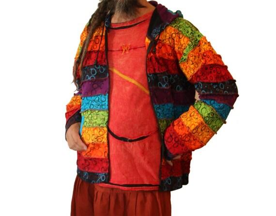 Pixie hood Jacket Men Pointed Rainbow Rainbow Patchwork Pixie Hippie Fleece Lined Women Men Hood Clothing qtAUpA
