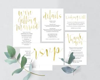 Gold wedding invitation template download, Editable pdf, Instant download, Gold invitations, Printable wedding stationery, Wedding details