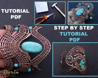Wire wrapping bracelet tutorial,jewelry tutorial,PDF lesson pattern,bracelet tutorial,cuff tutorial,wire wrapping tutorials,beading tutorial