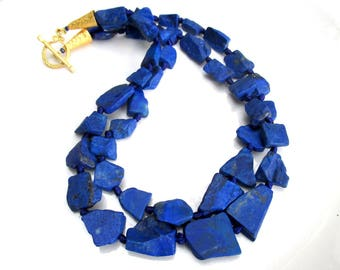 Natural LAPIS Double Strand Necklace - Raw Matte Finish Lapis Lazuli Beads with 22k Gold Vermeil Cones and Clasp