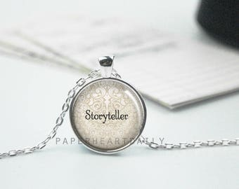Storyteller Necklace - Writing Necklace - Writer Necklace - Author Gift - Jewelry for Writers -  (B6501)