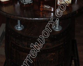 whiskey barrel  Bistro Table liquor cabinet with double lazy susans and double doors.