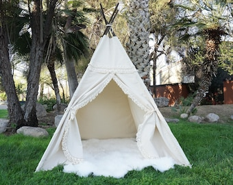 XL Boho teepee, 8ft kids Teepee, large tipi, Play tent, wigwam or playhouse with canvas and Overlapping front doors