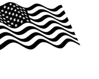 Wavy American Flag SVG Cutting File