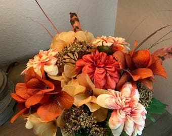NEW YEAR SALE---Floral Arrangement, Brown Pink Tan Flowers, Tin Planter, Rustic